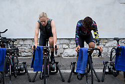 Leah Thorvilson & Barbara Guarischi warms up on Stage 1 of the Giro Rosa - a 11.5 km team time trial, between Aquileia and Grado on June 30, 2017, in Friuli-Venezia Giulia, Italy. (Photo by Sean Robinson/Velofocus.com)