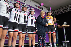 Norwegian Prime Minister Erna Solberg shakes hand with race leader Ellen van Dijk (NED) of Team Sunweb before Stage 1 of the Ladies Tour of Norway - a 101.5 km road race, between Halden and Mysen on August 18, 2017, in Ostfold, Norway. (Photo by Balint Hamvas/Velofocus.com)