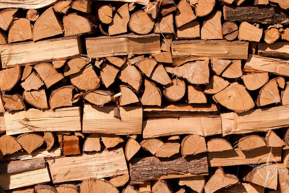 Split log pile, firewood