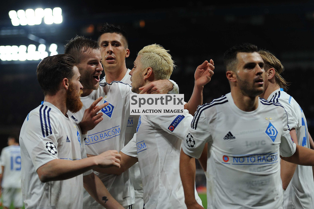 Dynamo Kievs Aleksandar Dragovic celebrates his equaliser to set the scores to 1-1 with his teammates during the Chelsea v Dynamo Kiev champions league match in the group stage on the 4th November 2015