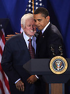 President Barack Obama and Senator Edward Kennedy at the signing of the Edward M.Kennedy Serve America Act at the SEED School in Washington, DC on April 21, 2009.  Photo by Dennis Brack