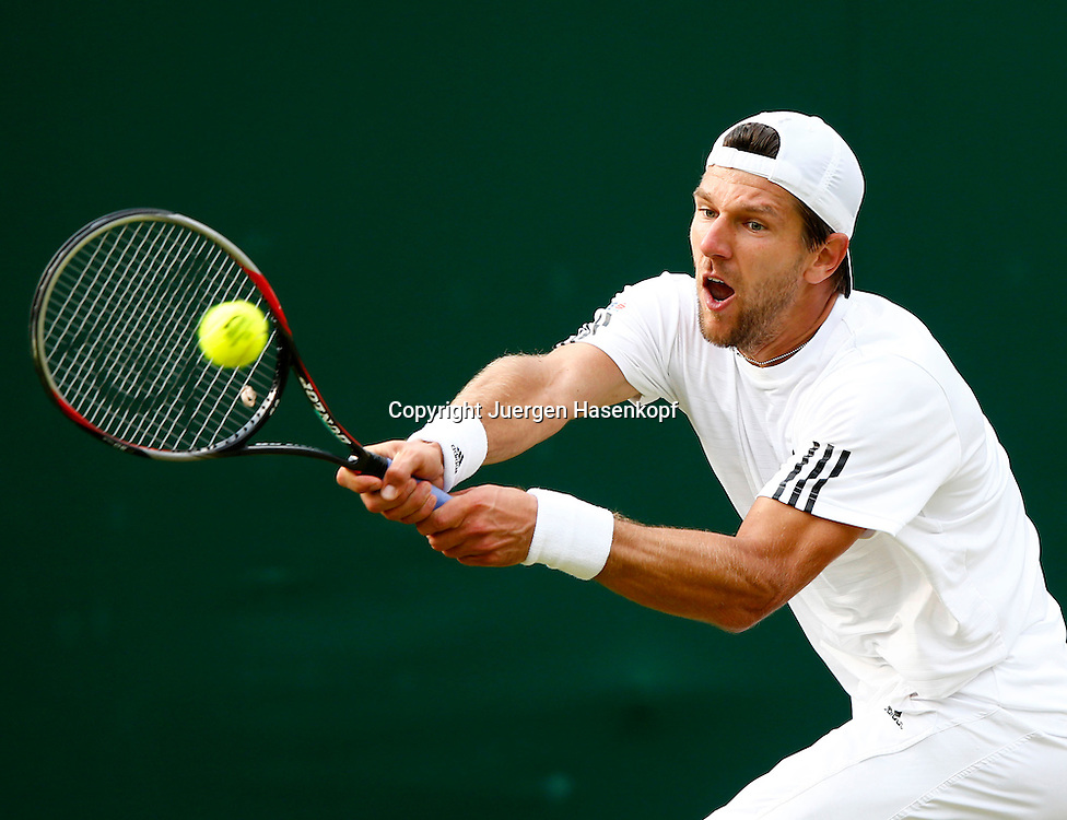 Wimbledon Championships 2013, AELTC,London,<br /> ITF Grand Slam Tennis Tournament,<br /> Juergen Melzer (AUT),Aktion,Einzelbild,Halbkoerper,Querformat,