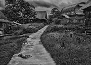 Camopi, Guyane, 2015.<br /> <br /> La commune de Camopi s&rsquo;&eacute;tend en pays am&eacute;rindien sur une superficie de 10 030 km&sup2;. Cr&eacute;&eacute;e en 1969 elle est constitu&eacute;e du bourg, zone d&rsquo;administration et d&rsquo;une zone de vie annexe dans les villages de Trois-Sauts &agrave; une journ&eacute;e ou deux de pirogue. Commune la plus enclav&eacute;e de la Guyane, les activit&eacute;s &eacute;conomiques sont quasi inexistantes. Un transporteur fluvial fait le lien avec Saint-Georges de fa&ccedil;on hebdomadaire, le voyage peut durer entre quatre heures et deux jours. Une annexe du coll&egrave;ge est ouverte en 2008. Jusqu&rsquo;alors les enfants &eacute;taient scolaris&eacute;s &agrave; Saint-Georges et h&eacute;berg&eacute;s dans un home indien, un pensionnat catholique. Une piste d&rsquo;aviation inutilisable en saison des pluies est en cours d&rsquo;am&eacute;nagement. Dans cette r&eacute;gion aurif&egrave;re et sans autre r&eacute;elle perspective de vie, certains habitants participent aux transports fluviaux qui alimentent les sites d&rsquo;orpaillage ill&eacute;gaux.<br /> <br /> La concentration des populations dans le bourg s'accompagne d'une politique d'am&eacute;lioration de l'habitat motiv&eacute;e par la n&eacute;cessit&eacute; de d&eacute;penser les cr&eacute;dits de d&eacute;veloppement allou&eacute;s par la communaut&eacute; europ&eacute;enne. L'habitat traditionnel tend &agrave; dispara&icirc;tre au profit de maisons ferm&eacute;es inadapt&eacute;es au mode de vie communautaire. Des panneaux solaires sont install&eacute;s pour fournir l&rsquo;&eacute;clairage et des bacs de tri collectif sont mis &agrave; disposition. Sans service de maintenance, les installations solaires sont hors d&rsquo;usage et les ordures tri&eacute;es sont finalement entass&eacute;es dans une d&eacute;charge &agrave; ciel ouvert.<br /> <br /> Les suicides r&eacute;currents qui touchent la communaut&eacute; am&eacute;rindienne de Camopi depuis quelq