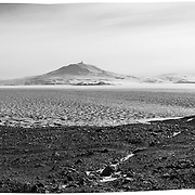 Station Communication dome and panorama looking back at Ross Island, a small plume over 12,448 foot Mount Erebus volcano and Mount Terror on right.