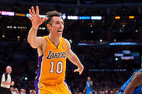30 October 2012: Guard (10) Steve Nash of the Los Angeles Lakers reaches out for a pass against the Dallas Mavericks during the first half of the Mavericks 99-91 victory over the Lakers at the STAPLES Center in Los Angeles, CA.