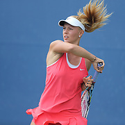Dalma Galfi, Hungary, in action against Sofia Kenin, USA,  in the Junior Girls' Singles Final during the US Open Tennis Tournament, Flushing, New York, USA. 13th September 2015. Photo Tim Clayton