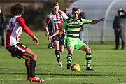 Forest Green Rovers Omar Bugiel(11) holds the ball up during the The Central League match between Cheltenham Town Reserves and Forest Green Rovers Reserves at The Energy Check Training Ground, Cheltenham, United Kingdom on 28 November 2017. Photo by Shane Healey.
