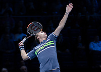 Tennis - 2017 Nitto ATP Finals at The O2 - Day One<br /> <br /> Mens Doubles: Group Eltingh/Haarhus: Henri Kontinen (Finland) & John Peers (Australia) Vs Ryan Harrison (United States) & Michael Venus (Australia)<br /> <br /> Henri Kontinen (Finland) looks high as he prepares to serve <br /> <br /> COLORSPORT/DANIEL BEARHAM