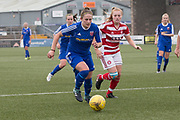 Forfar Farmington's Danni McGinley bursts past Hamilton's Megan Quinn - Forfar Farmington v Hamilton Academical in the SWPL Premier League One at Station Park, Forfar, <br /> <br /> <br />  - &copy; David Young - www.davidyoungphoto.co.uk - email: davidyoungphoto@gmail.com
