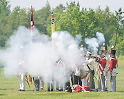 The Battle of Crysler's Farm  British line fires volley in re-enactment of Battle of Chippawa.  The Battle of Crysler's Farm.