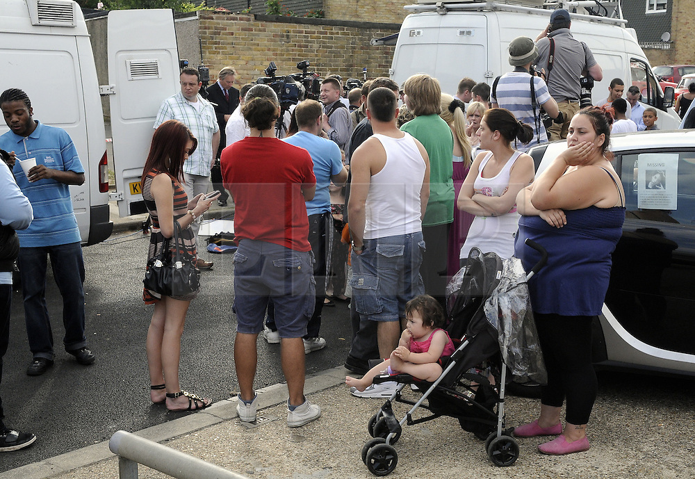 © Licensed to London News Pictures. 10/08/2012 .Local residents have arrived at The Linden from all over the estate as news of a body breaks..  12 years old Tia Sharp has been missing from the Lindens on The Fieldway Estate in New Addington,Croydon,Surrey since Friday last week. .Photo credit : Grant Falvey/LNP