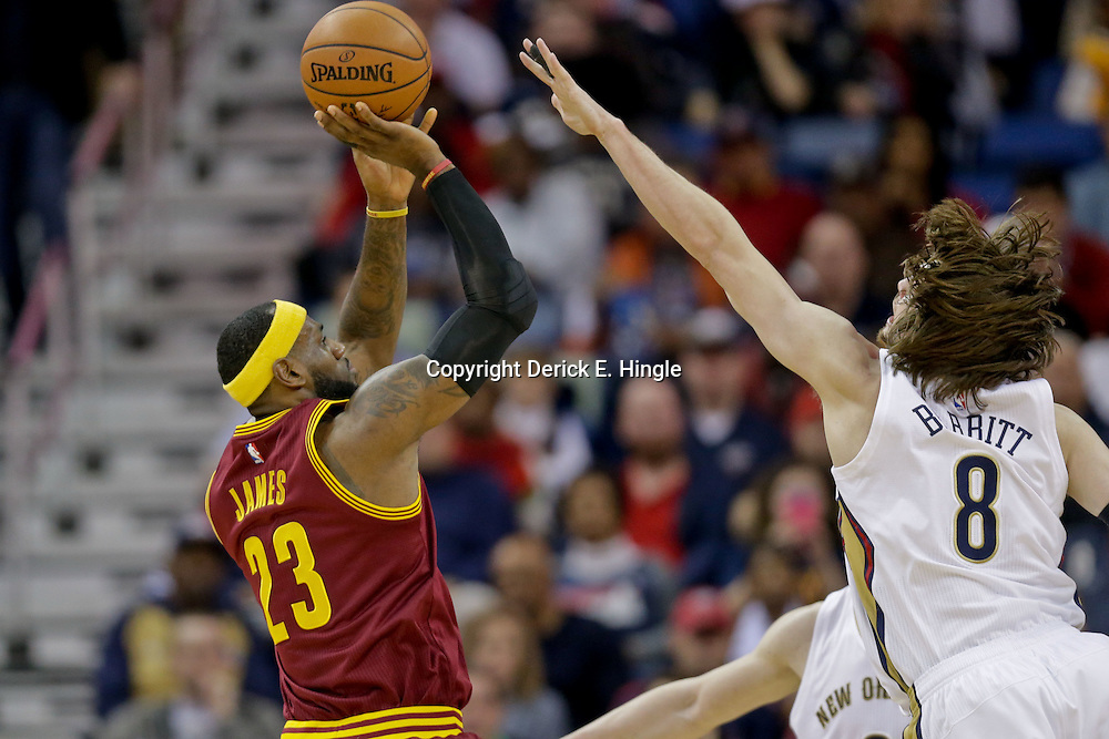 Dec 12, 2014; New Orleans, LA, USA; Cleveland Cavaliers forward LeBron James (23) shoots over New Orleans Pelicans forward Luke Babbitt (8) during the first quarter of a game at the Smoothie King Center. Mandatory Credit: Derick E. Hingle-USA TODAY Sports