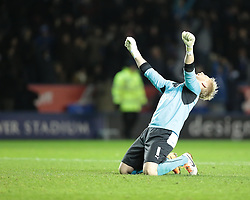 Leicester City's Kasper Schmeichel celebrates Leicester's 5th goal - Photo mandatory by-line: Nigel Pitts-Drake/JMP - Tel: Mobile: 07966 386802 29/12/2013 - SPORT - FOOTBALL - King Power Stadium - Leicester - Leicester City v Bolton Wanderers - Sky Bet Championship