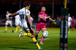 Clermont Fly-Half (#10) Brock James clears uring the second half of the match - Photo mandatory by-line: Rogan Thomson/JMP - Tel: Mobile: 07966 386802 20/10/2012 - SPORT - RUGBY - Sandy Park Stadium - Exeter. Exeter Chiefs v ASM Clermont Auvergne - Heineken Cup Round 2