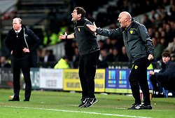 An animated Burton Albion manager Nigel Clough and Burton Albion Coach Andy Garner looks frustrated - Mandatory by-line: Robbie Stephenson/JMP - 21/02/2017 - FOOTBALL - iPro Stadium - Derby, England - Derby County v Burton Albion - Sky Bet Championship