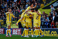 Martyn Woolford of Millwall (3rd right) celebrates scoring the opening goal against Watford with team mates during the Sky Bet Championship match at Vicarage Road, Watford<br /> Picture by David Horn/Focus Images Ltd +44 7545 970036<br /> 01/11/2014