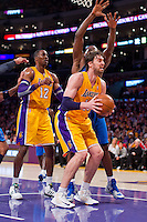 30 October 2012: Forward (16) Pau Gasol of the Los Angeles Lakers grabs a rebound against the Dallas Mavericks during the second half of the Mavericks 99-91 victory over the Lakers at the STAPLES Center in Los Angeles, CA.