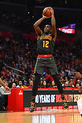 January 29, 2019 - Los Angeles, CA, U.S. - LOS ANGELES, CA - JANUARY 28: Atlanta Hawks Forward Taurean Prince (12) shoots a shot during a NBA game between the Atlanta Hawks and the Los Angeles Clippers on January 28, 2019 at STAPLES Center in Los Angeles, CA. (Photo by Brian Rothmuller/Icon Sportswire) (Credit Image: © Brian Rothmuller/Icon SMI via ZUMA Press)