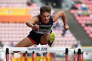 Matheo Bernat (FRA) competes in 110 Metres Hurdles Men during the IAAF World U20 Championships 2018 at Tampere in Finland, Day 2, on July 11, 2018 - Photo Julien Crosnier / KMSP / ProSportsImages / DPPI