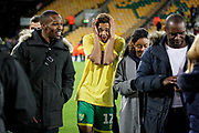 Norwich City defender Jamal Lewis (12) celebrates promotion to the Premier League after the EFL Sky Bet Championship match between Norwich City and Blackburn Rovers at Carrow Road, Norwich, England on 27 April 2019.
