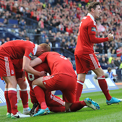 Ryan Christie is mobbed by his temates after scoring in the match between Hibs v Aberdeen, William Hill Scottish Semi Final, Hampden, Saturday 22 April 2017  (c) Angie Isac | SportPix.org.uk