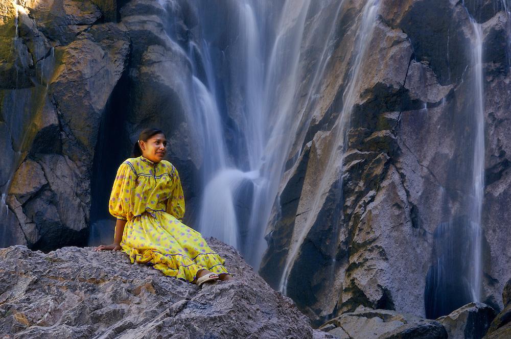 Tarahumara Indian, Cusarare Waterfall, near Creel, Copper Canyon, Chihuahua, Mexico