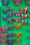 Tile ceramic butterfly decorations on sale at the pottery market in Dolores Hidalgo, Guanajuato, Mexico. The town is where Independence leader Miguel Hidalgo issued the now world famous Grito - a call to arms for Mexican independence from Spain.