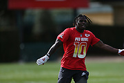 Jan 23, 2019; Kissimmee, FL, USA;   Kansas City Chiefs wide receiver Tyreek Hill (10) enjoying the AFC team practice at the 2019 Pro Bowl at ESPN Wide World of Sports Complex. (Kim Hukari/Image of Sport)