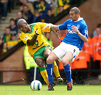 Photo: Daniel Hambury.<br /> Norwich City v Birmingham City.<br /> FA Barclays Premiership.<br /> 07/05/2005.<br /> Norwich's Damien Francis and Birmingham's Walter Pandiani battle for the ball.