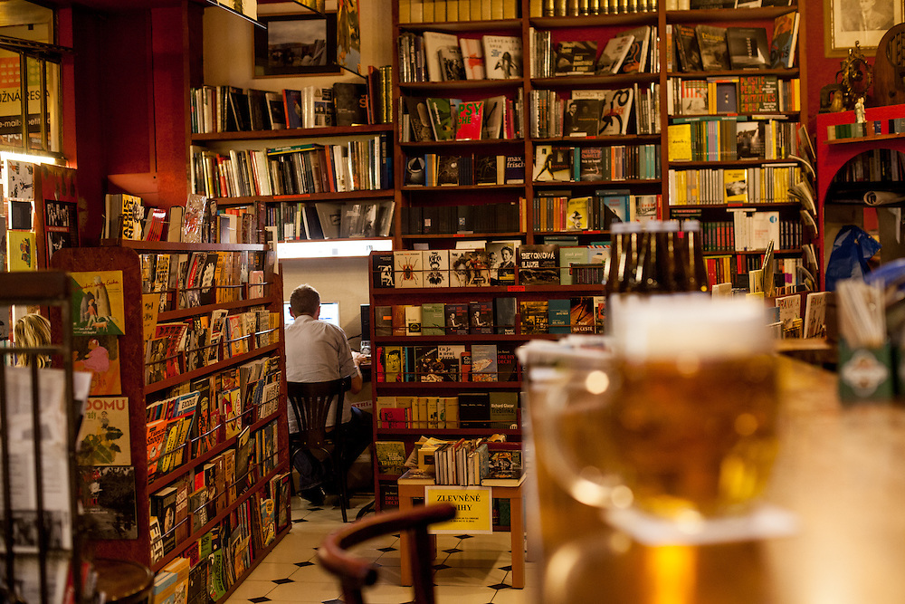 The bookstore and cafe bar Rehor Samsa located in the Lucerna passage.