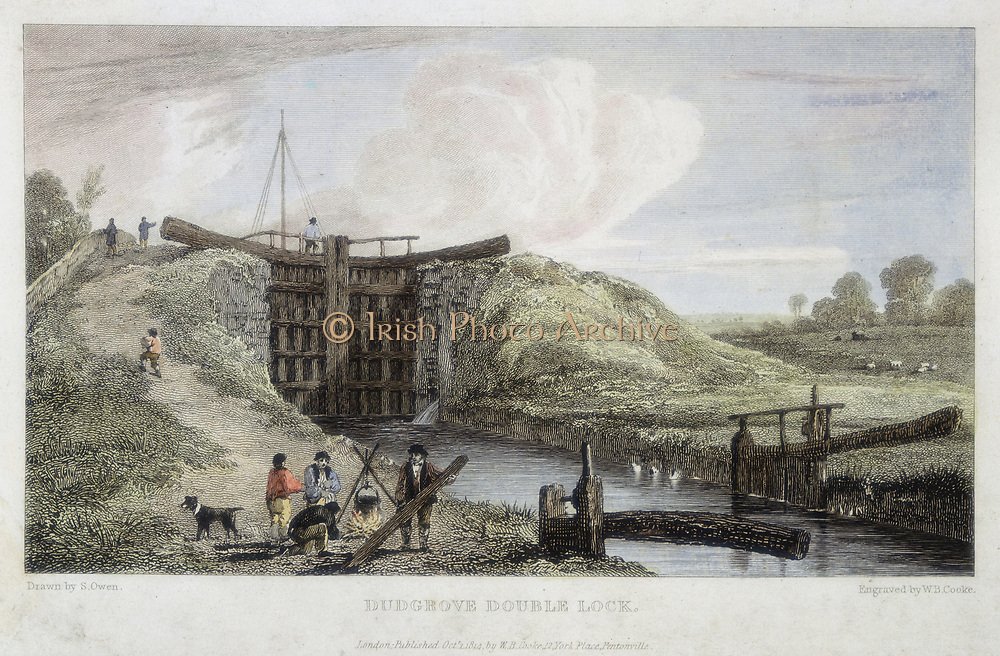 Thames and Severn Canal opened 1789. Dudgrove double lock above Lechlade. Dudgrove, about 3/4 mile (1.2 km) from the Thames, was the second lock on the canal from where it connected with the river. Engineer: Robert Whitworth. Print published London, 1814.