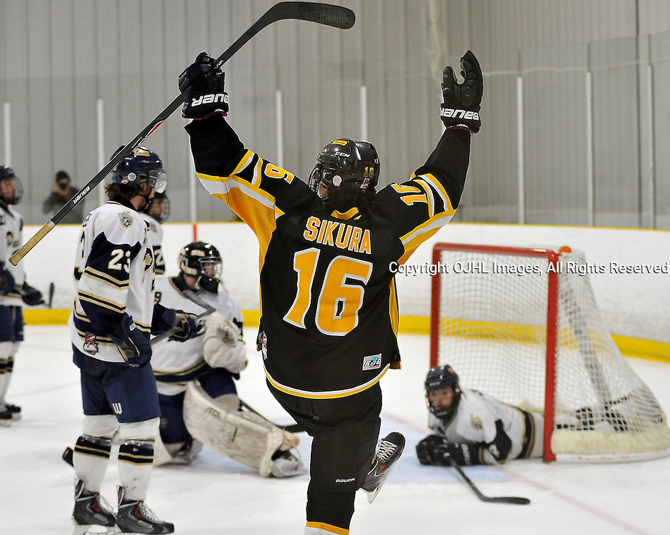 TORONTO, ON - Apr 13: Ontario Junior Hockey League, Buckland Cup Championship Series between the Aurora Tigers and the Toronto Patriots. Dylan Sikura #16 of the Aurora Tigers celebrates the goal during the third period.<br /> (Photo by Shawn Muir / OJHL Images)