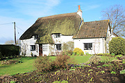 Pretty thatched country cottage and garden, Cherhill, Wiltshire, England, UK