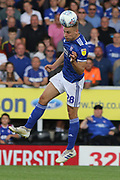 Ipswich Town defender Luke Woolfenden heads the ball during the EFL Sky Bet League 1 match between Burton Albion and Ipswich Town at the Pirelli Stadium, Burton upon Trent, England on 3 August 2019.
