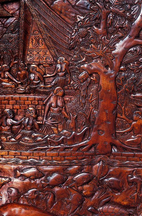 Palau, Micronesia: Palauan story board woodcarving of legend of Ngiptal, by Zake K, prisoner at Koror jail (wood: mahagony).