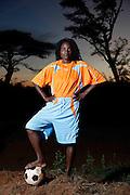 Rasimphi Thompho Precious, player number 13 for Tshiombo White Pool womens football club sponsored by ActionAid. Nr Thohoyandou. Venda. Limpopo Province.