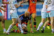 Castleford Tigers centre Jake Webster (3) looses the ball in the tackle during the Betfred Super League match between Castleford Tigers and Widnes Vikings at the Jungle, Castleford, United Kingdom on 11 February 2018. Picture by Simon Davies.