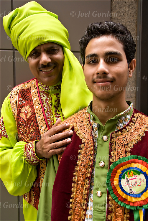 Portraits of father and son dressed in traditional folk costumes part of the faces of people showing their ethnic pride who were marching and in the crowds from the 2008 Pakistan Day Parade in New York