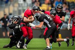 East Kilbride Pirates in action - Mandatory by-line: Jason Brown/JMP - 27/08/2016 - AMERICAN FOOTBALL - Sixways Stadium - Worcester, England - Kent Exiles v East Kilbride Pirates - BAFA Britbowl Finals Day