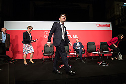 © Licensed to London News Pictures . 25/07/2015 . Warrington , UK . JEREMY CORBYN , YVETTE COOPER , ANDY BURNHAM and LIZ KENDALL arrive on stage at the Labour Party leadership hustings at Parr Hall in Warrington . Photo credit : Joel Goodman/LNP