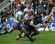 Louie McCarthy-Scarsbrook of St Helens dives over to score a try against Hull FC during the Betfred Super League match at the Dacia Magic Weekend at St. James's Park, Newcastle<br /> Picture by Stephen Gaunt/Focus Images Ltd +447904 833202<br /> 20/05/2017