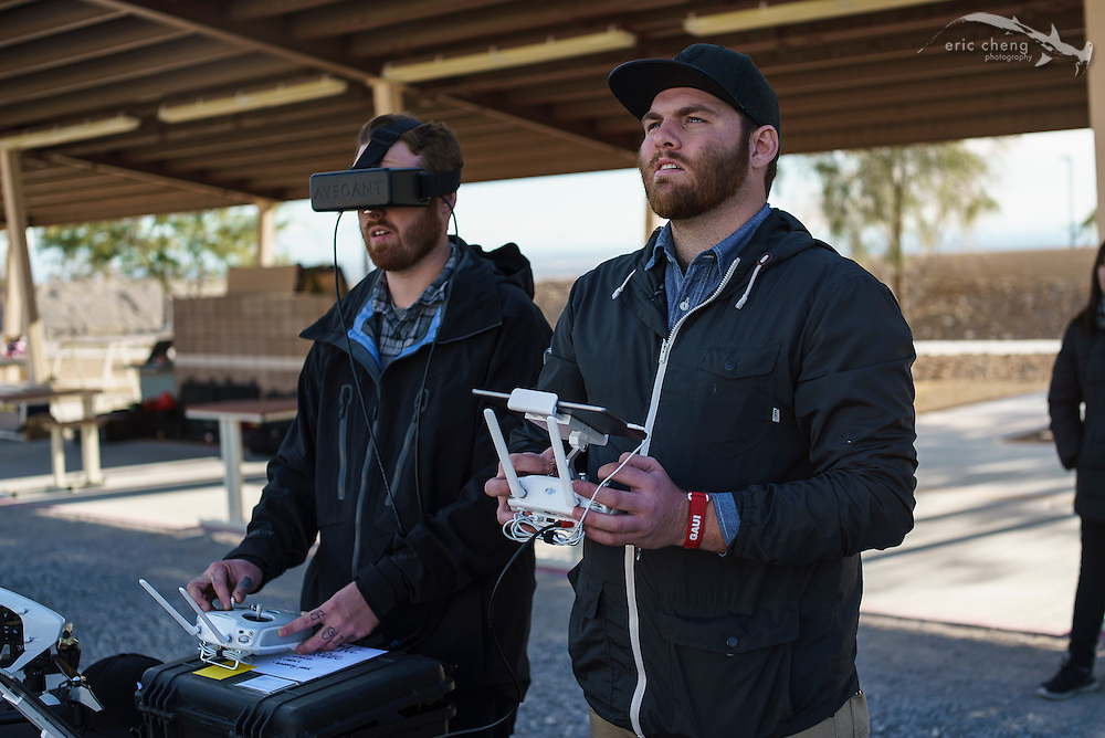 Nate and Drew from Wild Rabbit Productions try out dual-operator mode on the DJI Inspire 1 #ces2015 #dronerodeo