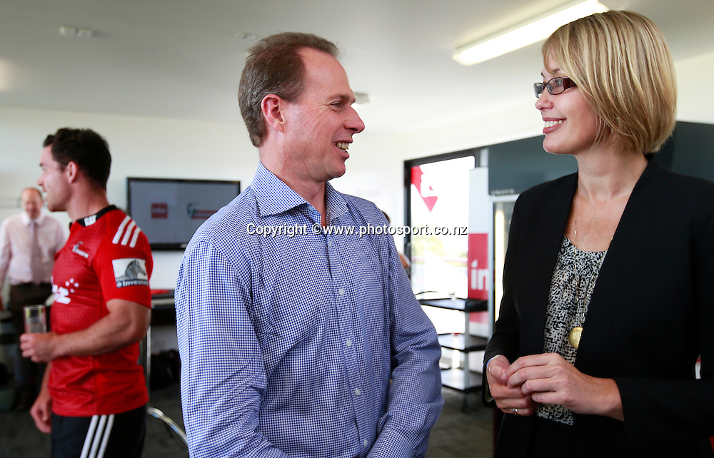 Hamish Riach, Crusaders CEO and Jo-Anne Ruhl, Managing Director of infer. Chat at a Crusaders back Sponsor announcement of infor and Crusaders captains run training session held at AMI Stadium, Christchurch. 12 February 2015 Photo: Joseph Johnson / www.photosport.co.nz
