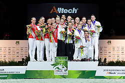Podium - Squad Final Vaulting - Alltech FEI World Equestrian Games™ 2014 - Normandy, France.<br /> © Hippo Foto Team - Jon Stroud<br /> 05/09/2014