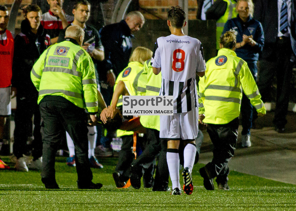 Forfar v Dunfermline Athletic Petrofac cup second round Station Park 18 August 2015<br /> Ryan Williamson is stretchered off with a serious injury<br /> CRAIG BROWN | sportPix.org.uk