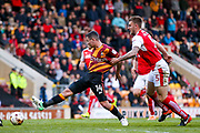 Bradford City midfielder, on loan from West Ham United, Josh Cullen (14) is held by Fleetwood Town Defender Ashley Eastham (5)  during the EFL Sky Bet League 1 play off first leg match between Bradford City and Fleetwood Town at the Coral Windows Stadium, Bradford, England on 4 May 2017. Photo by Simon Davies.