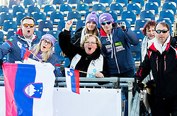 "Supporters of Maze Tina (SLO) in finish area after the FIS Alpine Ski World Cup 2014/15 5th Ladies' Slalom race named ""Snow Queen Trophy 2015"", on January 4, 2015 in Course Crveni Spust at Sljeme hill, Zagreb, Croatia.  Photo by Vid Ponikvar / Sportida"