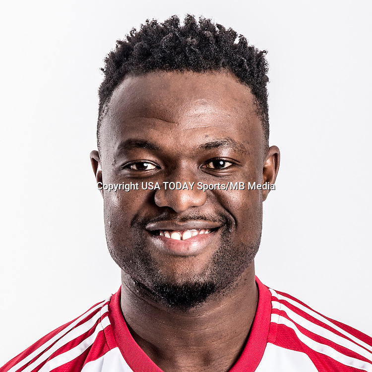 Feb 25, 2016; USA; New York Red Bulls player Gideon Baah poses for a photo. Mandatory Credit: USA TODAY Sports