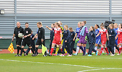 Officials lead the Bristol Academy and Chelsea players on to the pitch at Stoke Gifford Stadium - Photo mandatory by-line: Paul Knight/JMP - Mobile: 07966 386802 - 02/04/2015 - SPORT - Football - Bristol - Stoke Gifford Stadium - Bristol Academy Women v Chelsea Ladies - FA Women's Super League