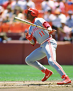 SAN FRANCISCO - 1990: Barry Larkin of the Cincinnati Reds bats in an MLB game at Candlestick Park in San Francisco, California during the 1990 season.  (Photo by Ron Vesely/MLB Photos via Getty Images)  *** Local Caption *** Barry Larkin